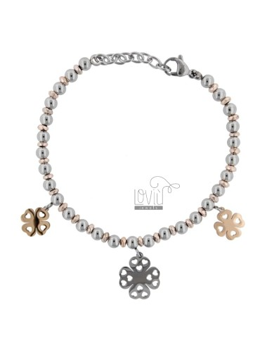 BRACELET WITH BALLS AND QUADRIFOGLI IN TWO-COLORED STEEL CM 18
