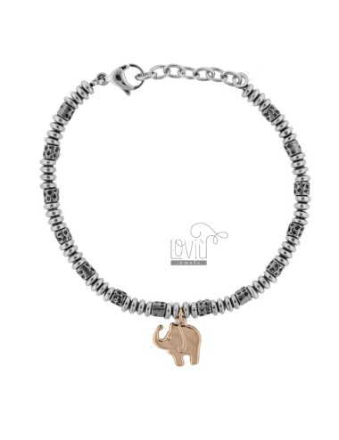 BRACELET WITH WASHERS AND TWO-COLORED STEEL ELEPHANT CM 21