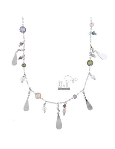 NECKLACE WITH DROPS AND STONES IN SILVER RHODIUM TIT 925 TIT CM 42-45