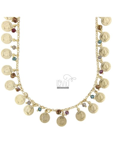 NECKLACE WITH COINS AND STONES IN GOLDEN SILVER TIT 925 ‰ CM 52-55