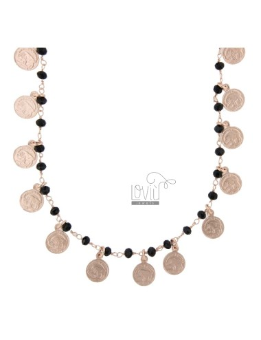 NECKLACE WITH COINS AND STONES IN SILVER ROSE TIT 925 70 CM 70