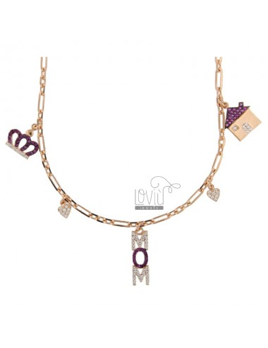 COLLANA MOM IN ARG. ROSATO TIT 925 E ZIRCONI COLORATI