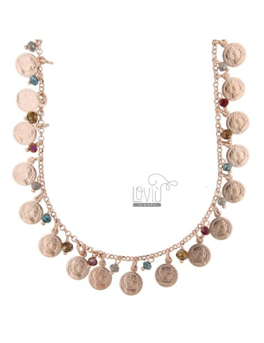 NECKLACE WITH COINS AND STONES IN SILVER ROSE TIT 925 ‰ CM 52-55
