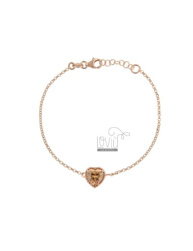 ROLO BRACELET 'CM 17-19 WITH 10 MM HEART IN SILVER ROSE TIT 925 AND CHAMPAGNE ZIRCONE