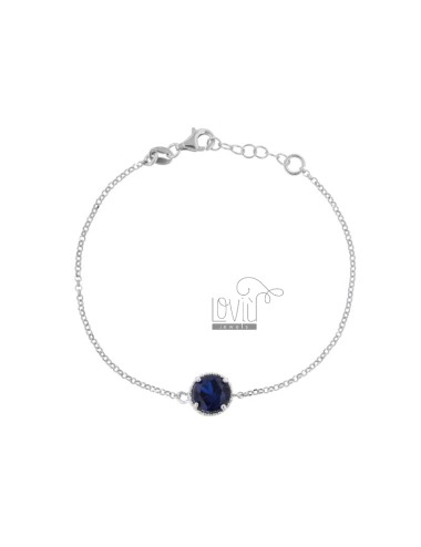 BRACELET ROLO 'CM 17-19 WITH POINT LIGHT 10 MM SILVER RHODIUM TIT 925 AND ZIRCON BLUE