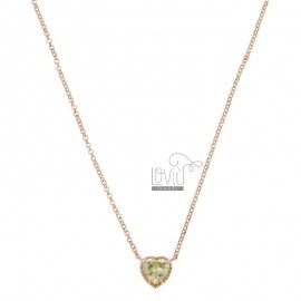 ROLO NECKLACE 42-44 CM WITH 10 MM HEART IN SILVER ROSE TIT 925 AND GREEN ZIRCONE