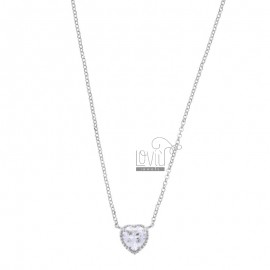 ROLO NECKLACE 42-44 CM WITH 10 MM HEART IN SILVER RHODIUM TIT 925 AND WHITE ZIRCON