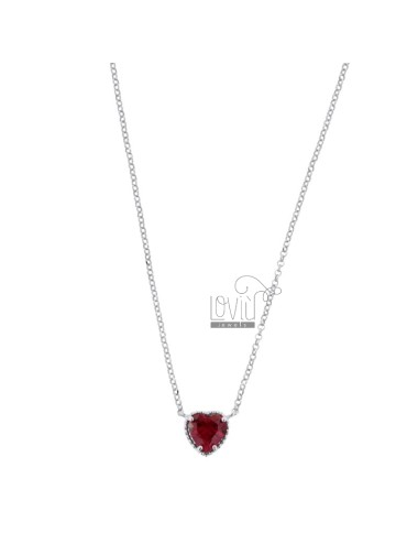 ROLO NECKLACE 42-44 CM WITH 10 MM HEART IN SILVER RHODIUM TIT 925 AND RED ZIRCONE