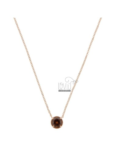 ROLO NECKLACE 42-44 CM WITH LIGHT POINT 10 MM SILVER ROSE TIT 925 AND SMOKE ZIRCON