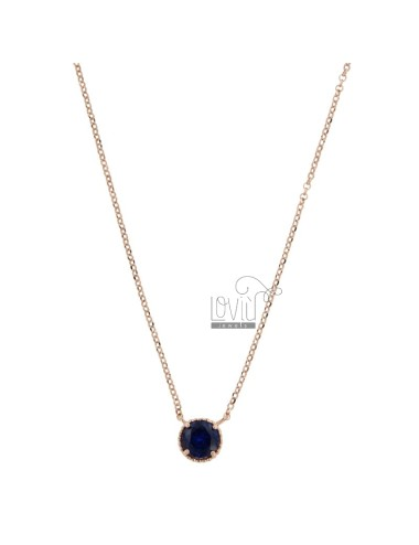 ROLO NECKLACE 42-44 CM WITH LIGHT POINT 10 MM SILVER ROSE TIT 925 AND BLUE ZIRCONE