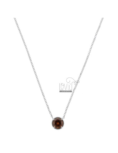 COLLANA ROLO' CM 42-44 CON PUNTO LUCE MM 10 IN ARG. RODIATO TIT 925 E ZIRCONE FUME'