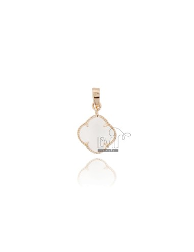 SMALL FLOWER PENDANT IN HYDROTHERMAL STONE WHITE COLOR 8 AND AG GOLD PLATED ROSE TIT 925