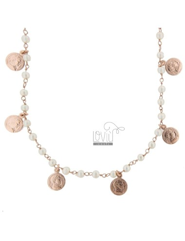 ROLO NECKLACE 'WITH COINS AND PENDANTS IN SILVER ROSE TIT 925 70 CM 70