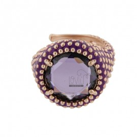 ROUND RING WITH MICROSPHERES IN SILVER ROSE TIT 925, ENAMEL AND HYDROTHERMAL STONE PURPLE ADJUSTABLE SIZE