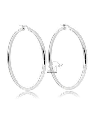 RING EARRINGS 50 MM ROUND ROD 3 MM SILVER RHODIUM TIT 925 ‰