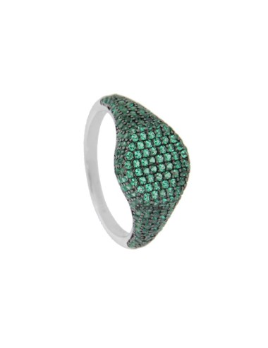 RING CHEVALIER ROUND 10 MM SILVER RHODIUM TIT 925 ‰ AND GREEN ZIRCONIA SIZE 18