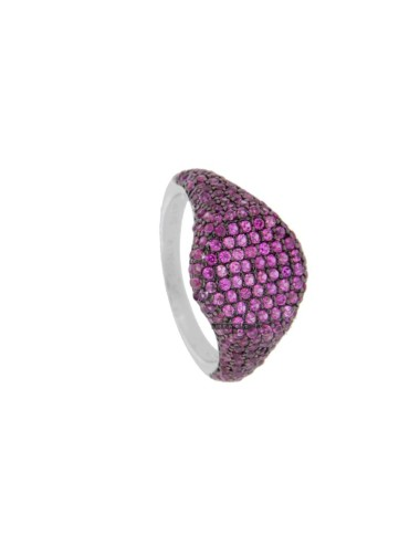 RING CHEVALIER ROUND 10 MM SILVER RHODIUM TIT 925 ‰ AND ZIRCONIA ROSSI SIZE 8