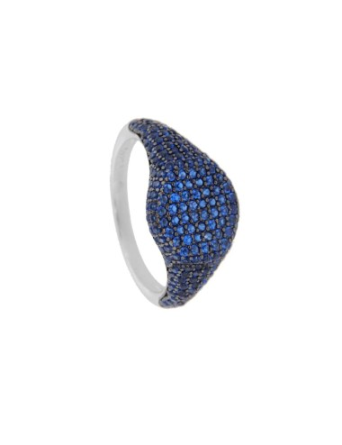 RING CHEVALIER ROUND 10 MM SILVER RHODIUM TIT 925 ‰ AND ZIRCONIA BLUE SIZE 16
