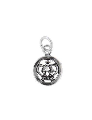 PENDANT ROUND 16 MM CROWN IN SILVER BRUNITO TIT 800