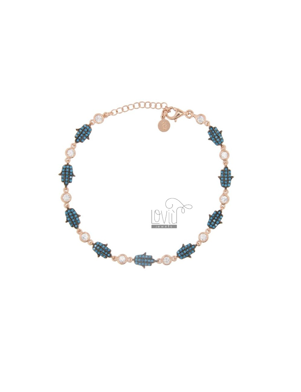 FATIMA HAND BRACELET IN SILVER ROSE TIT 925 AND COLORED ZIRCONIA 18-20 CM