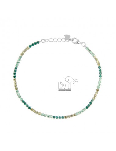 2.5 MM TENNIS BRACELET IN SILVER RHODIUM TIT 925 AND YELLOW AND GREEN ZIRCONIA 18-20 CM