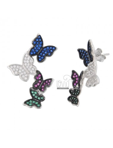 DEGRADE BUTTERFLY EARRINGS IN SILVER RHODIUM TIT 925 ‰ AND COLORED ZIRCONIA