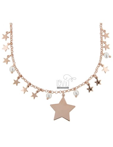 ROLO NECKLACE 'WITH STARS AND PENDANTS IN SILVER ROSE TIT 925 70 CM 70