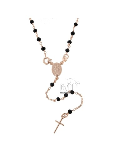 ROSARY ROLO 'NECKLACE WITH STONE BALLS 3.5 MM IN ROSE SILVER TIT 925 ‰ CM 50