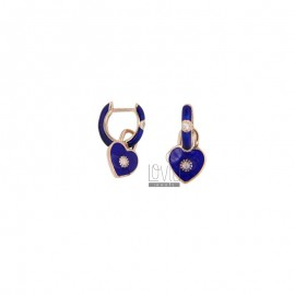 CIRCLE EARRINGS WITH HEART PENDANT SILVER ROSE TIT 925 ZIRCONIA AND BLUE ENAMEL