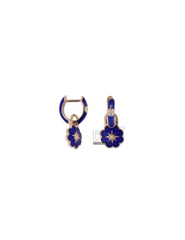 EARRINGS IN A CIRCLE WITH QUADRIFOGLIO PENDANT IN SILVER ROSE TIT 925 ZIRCONIA AND BLUE ENAMEL
