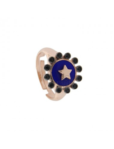 CHEVALIER RING IN SILVER TIT 925 ENAMEL AND ZIRCONIA ASSORTED COLORS ADJUSTABLE SIZE