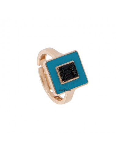 CHEVALIER RING IN ROSE SILVER TIT 925 ENAMEL AND ZIRCONIA ADJUSTABLE SIZE