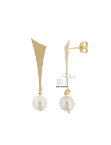 PENDANT EARRINGS WITH PEARL 8 MM SILVER SILVER TIT 925