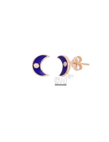 MOON LOBO EARRINGS IN SILVER ROSE TIT 925 ZIRCONIA AND BLUE ENAMEL