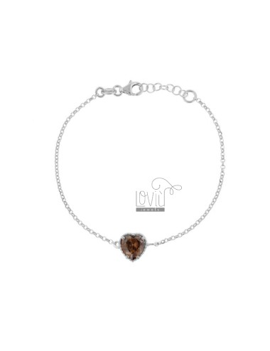 ROLO BRACELET 'CM 17-19 WITH 10 MM HEART IN SILVER RHODIUM TIT 925 AND SMOKE ZIRCON'