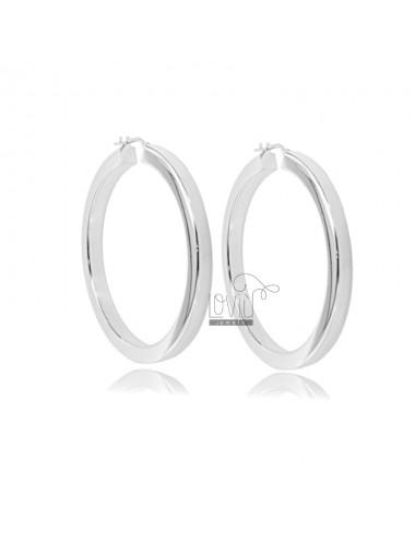 HOOP EARRINGS DIAMETER 40 SQUARE BARREL 4.5X4.5 MM IN RHODIUM-PLATED SILVER TIT 925