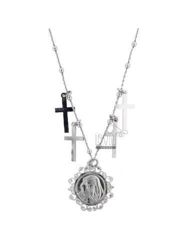 NECKLACE WITH MADONNA AND PENDANT CROSSES IN RHODIUM SILVER CM FROM 40-45