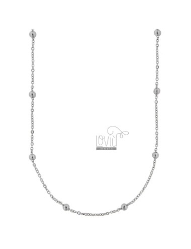 CHAIN AND BALL LACE 3 MM ALTERNATE IN RHODIUM ALUMINUM 90 CM