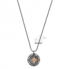 VENETIAN NECKLACE WITH ROSE OF THE WINDS IN TWO-COLORED STEEL CM 50