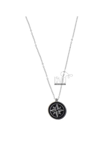 NECKLACE CABLE WITH ROSE OF THE WINDS IN STEEL AND POLISH 50 CM