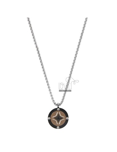 VENETIAN NECKLACE WITH ROSE OF THE WINDS IN TRICOLOR STEEL CM 50