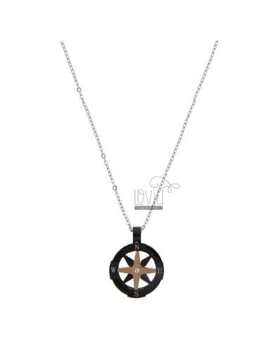 NECKLACE CABLE WITH ROSE OF THE WINDS IN TRICOLOR STEEL AND STRASS CM 50