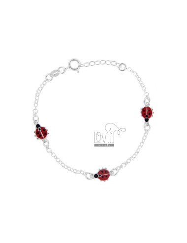 ROLO BRACELET 'WITH 3 COCCINELLE ENAMELLED IN SILVER TIT 925 CM 15-18