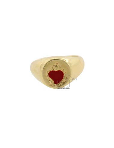 RING CHEVALIER ROUND WITH SACRED HEART IN SILVER SILVER TIT 925 ‰ AND ENAMEL SIZE ADJUSTABLE FROM RING