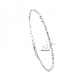 BRACELET WITH BALLS AND WASHER CM 17-19 SILVER RHODIUM TIT 925