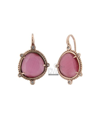 MONACHELLA EARRINGS WITH HYDROTHERMAL STONE SASSO GREAT COLOR FUCHSIA 16 AND ZIRCONIA IN ROSE SILVER TIT 925 ‰