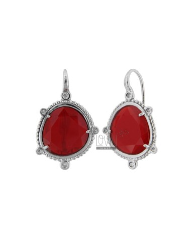 MONACHELLA EARRINGS WITH HYDROTHERMAL STONE SASSO LARGE RED COLOR 57 AND ZIRCONIA IN RHODIUM SILVER TIT 925 ‰