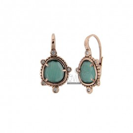 MONACHELLA EARRINGS WITH HYDROTHERMAL STONE SASSO GREEN COLOR 40 AND ZIRCONIA IN AG ROSATO TIT 925 ‰