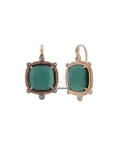MONACHELLA EARRINGS WITH HYDROTHERMAL STONE SQUARE LARGE GREEN 40 AND ZIRCONIA IN ROSE AG TIT 925 ‰