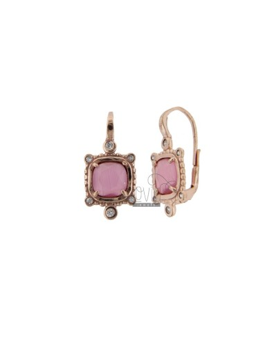 MONACHELLA EARRINGS WITH SQUARE 16 SQUARE HYDROTHERMAL STONE AND ZIRCONIA IN ROSE GOLD PLATED AG 925 T ‰